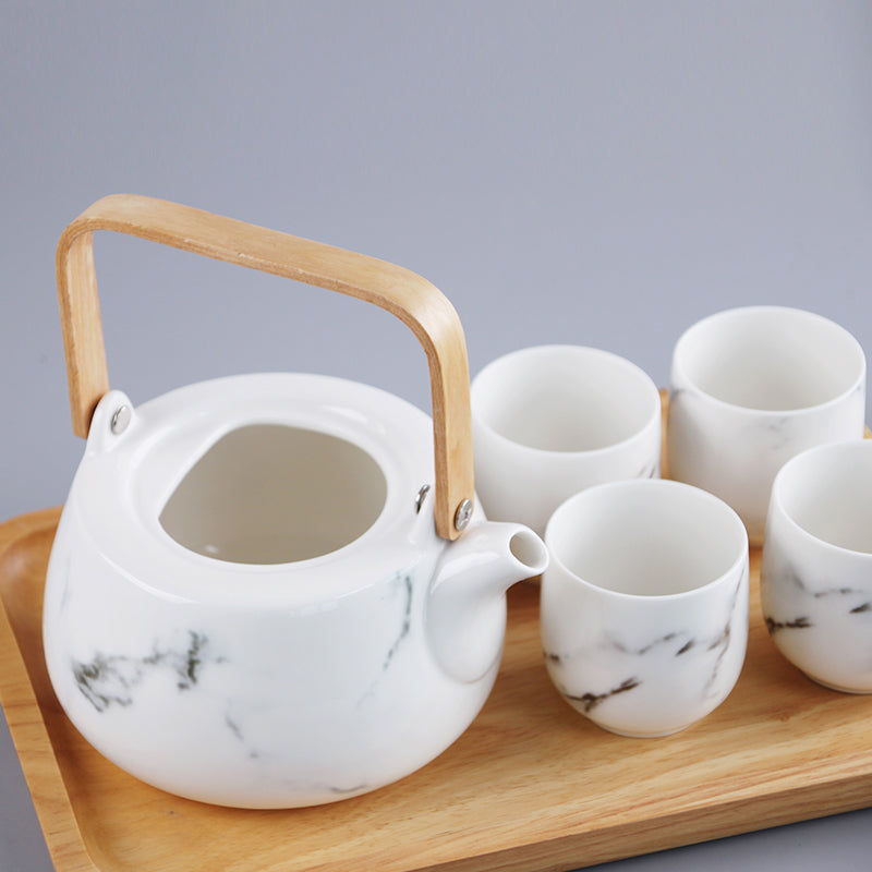 Japanese White Marble Pattern Tea Set - Staunton and Henry