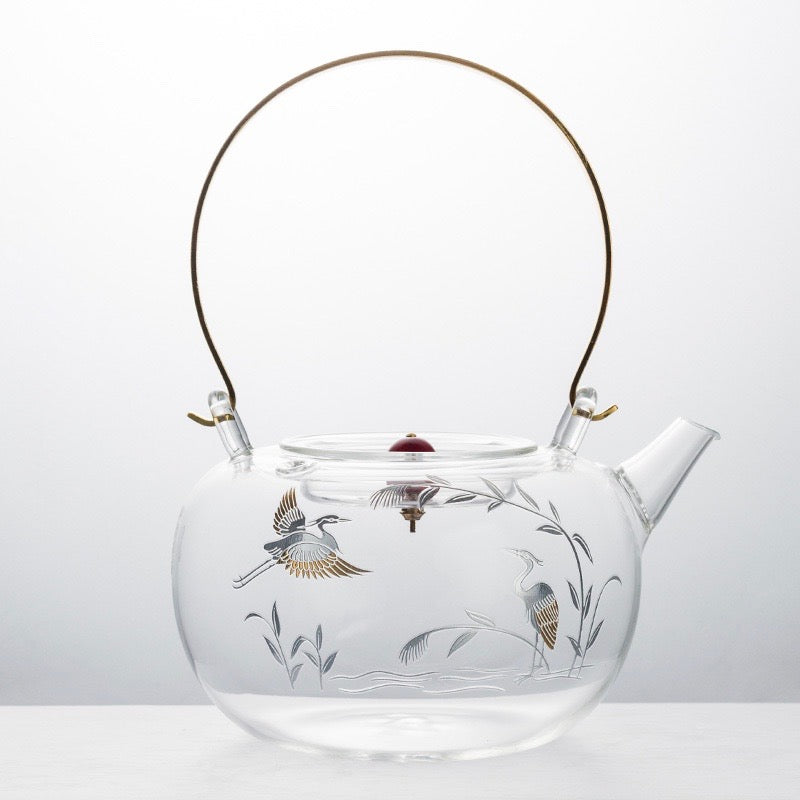 Japanese Glass Tea Pot With Gold Detail - Staunton and Henry