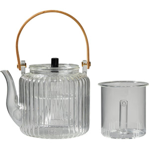 Modern Oriental Glass Tea Pot Set With Bamboo Handle - Staunton and Henry