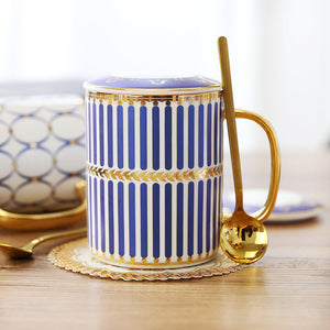 Gatsby Elegant Modern Coffee Mugs - With Gold Spoon - Staunton and Henry