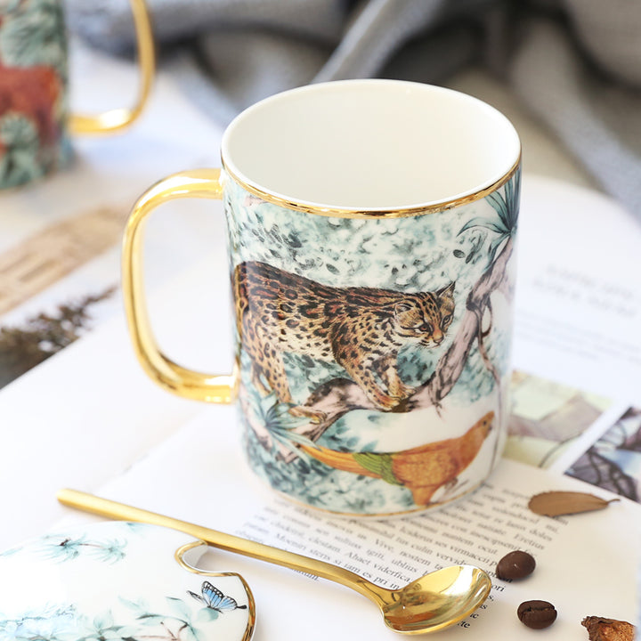 The Tropics Retro Fauna Coffee Mugs - With Gold Spoon - Staunton and Henry