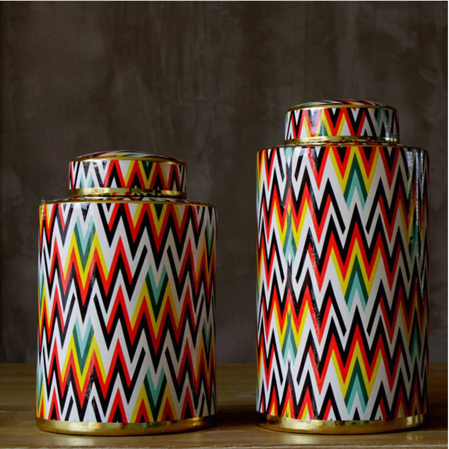 Colourful Chevron Pattern Urn Vases - Staunton and Henry