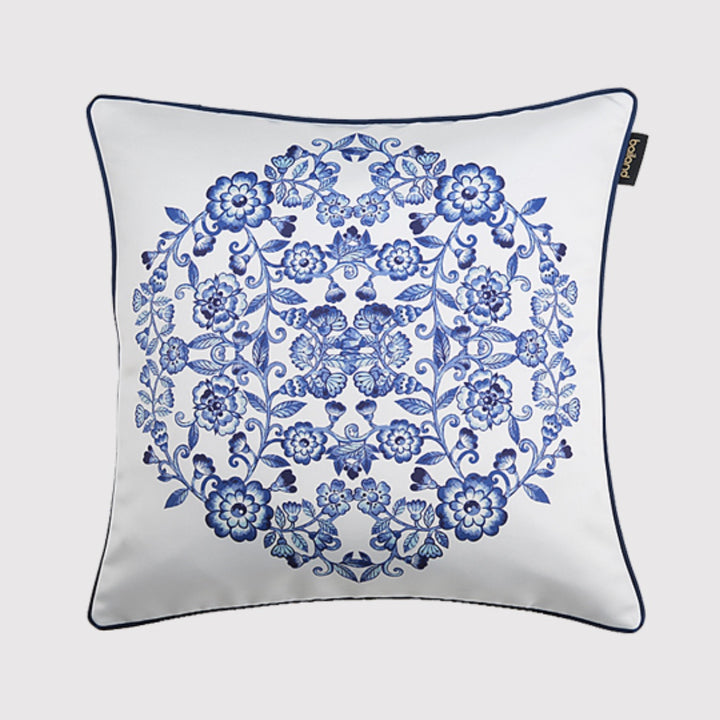 Oriental Blue and White Throw Cushion - Staunton and Henry