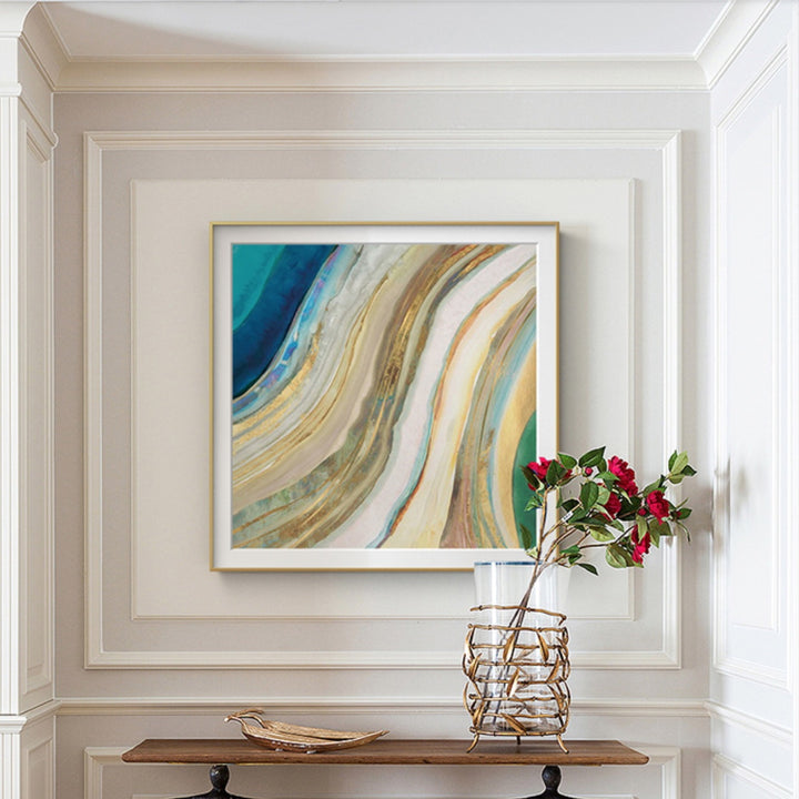 Framed Gold and Blue Agate Art Print - Staunton and Henry