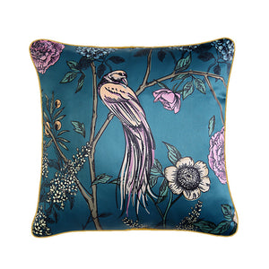 Teal Oriental Bird Throw Cushion - Staunton and Henry
