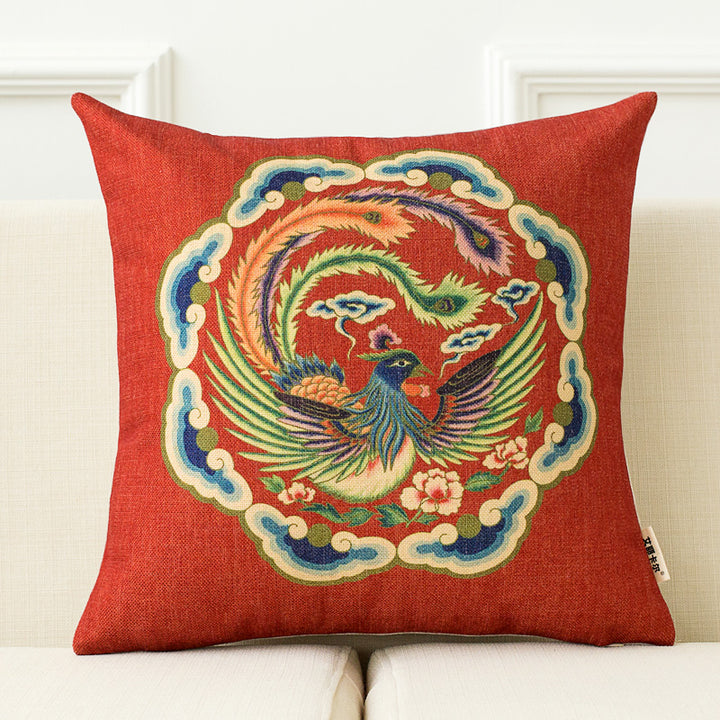 Modern Red Oriental Throw Cushion - Staunton and Henry