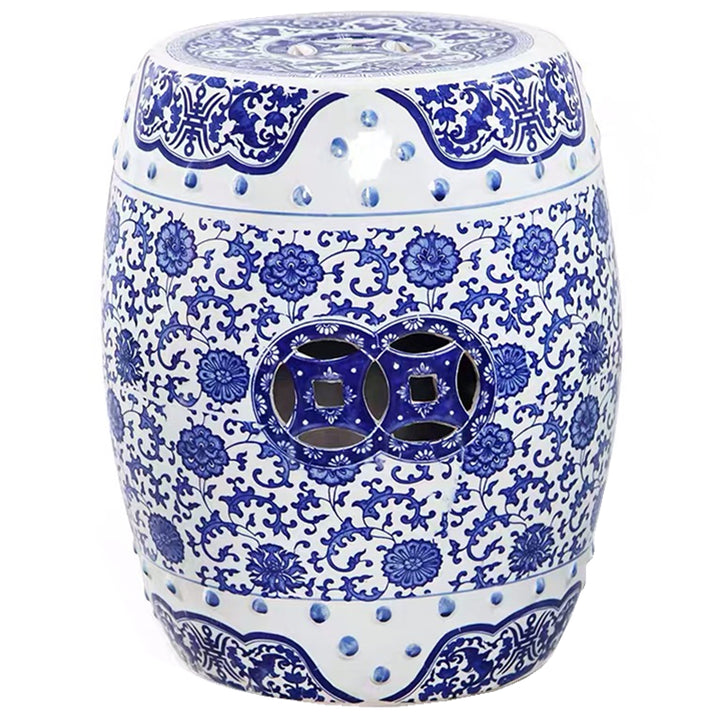 Blue and White Chinese Ceramic Stool - Staunton and Henry