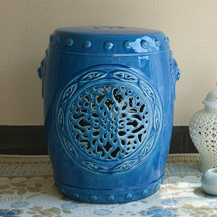 Blue Chinese Ceramic Garden Stool - Staunton and Henry