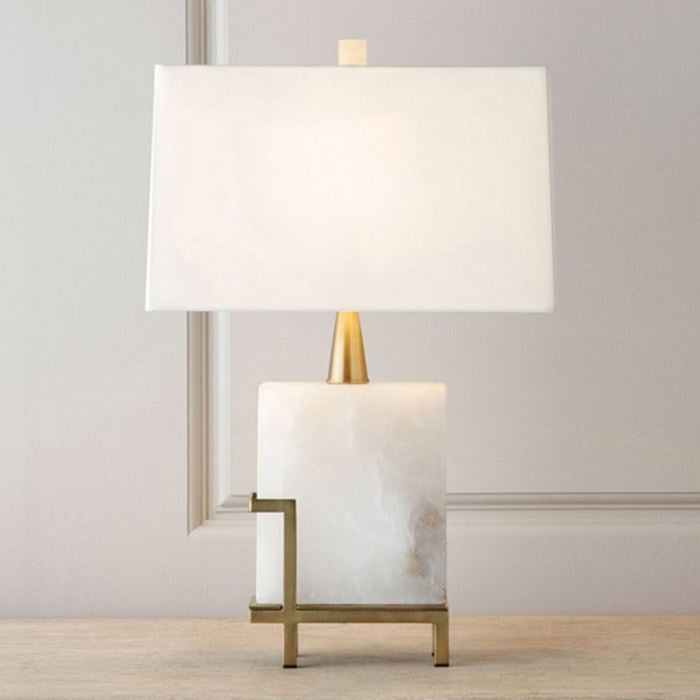 Modern Square White Marble Table Lamp - Staunton and Henry