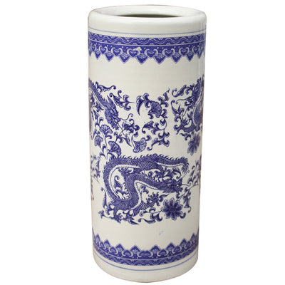 Blue and White Chinese Umbrella Stand - Staunton and Henry