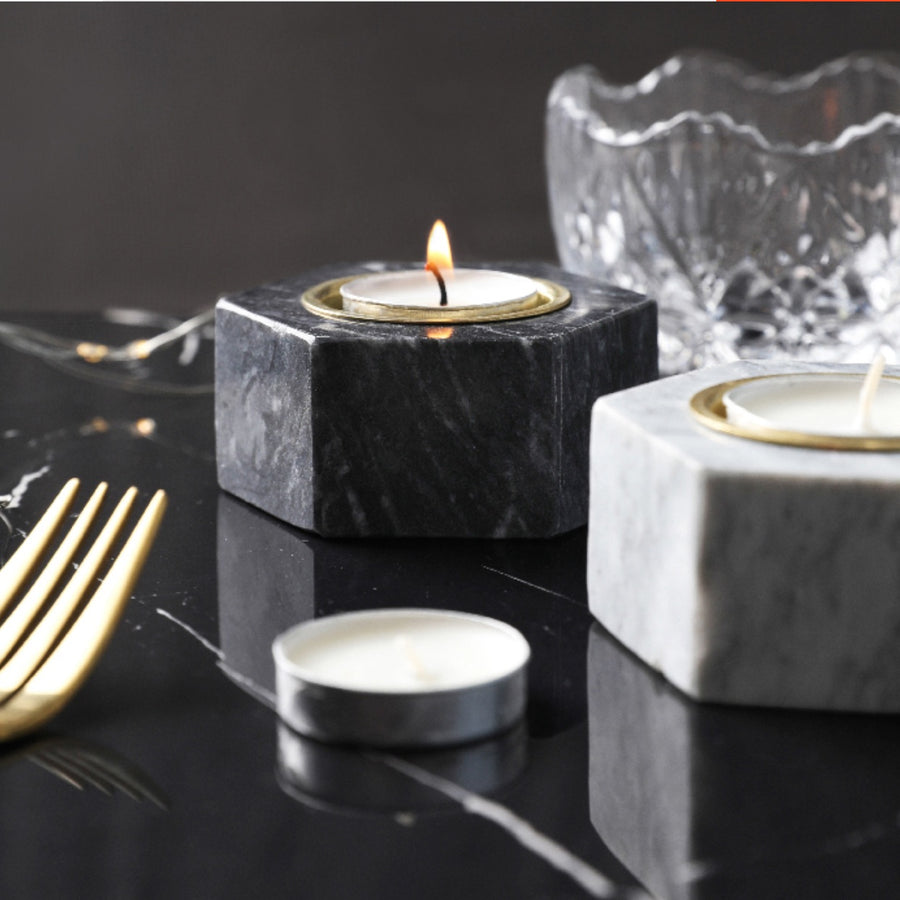 Marble Tea Light Candle Holders - Set of 3 - Staunton and Henry