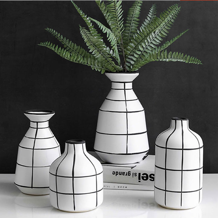 Monochrome Tile Pattern Vases - Staunton and Henry