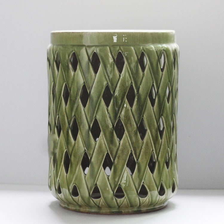Bamboo Lattice Ceramic Stool - Staunton and Henry
