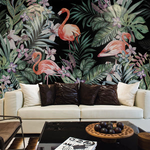Flamingos in the Jungle Wall Mural