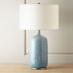 Blue Ceramic Table Lamp with Gold Trim - Staunton and Henry