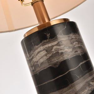 Black Marble Table Lamp With Gold Trim