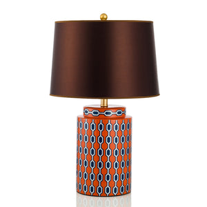 Orange Table Lamp With Gold Trim