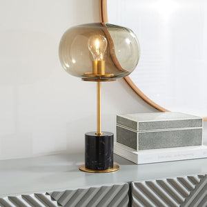 Modern White Marble Table Lamp With Gold Trim - Staunton and Henry