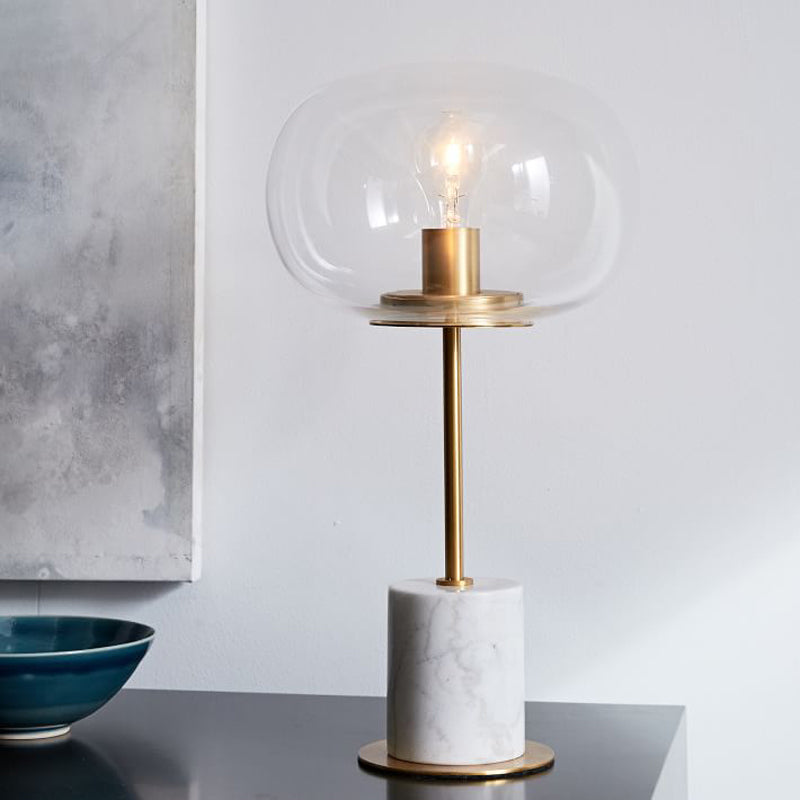 Modern White Marble Table Lamp With Gold Trim – Staunton ...