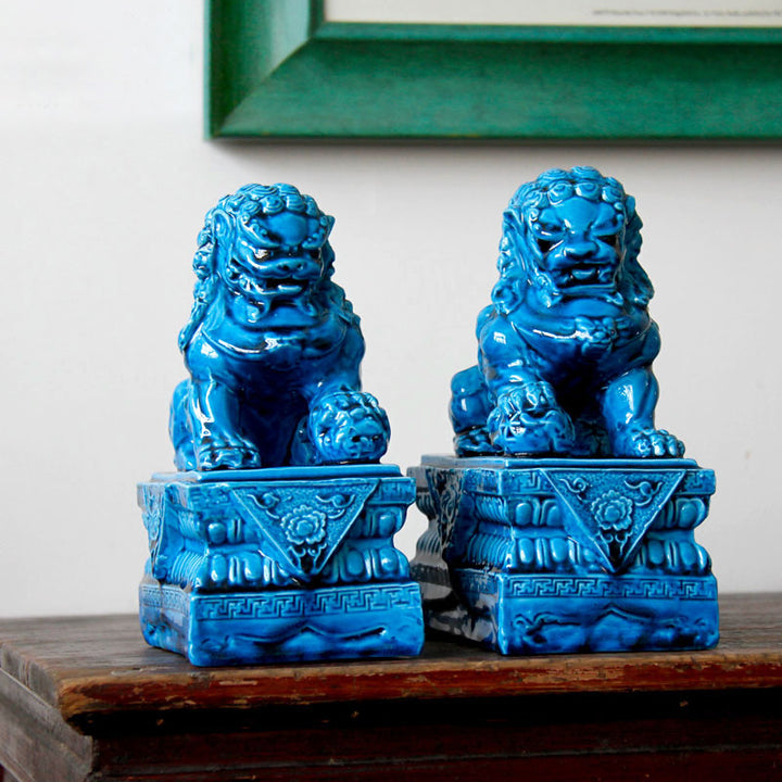 Blue Foo Dogs - Set of 2 - Staunton and Henry