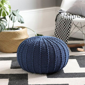 Blue Knit Pouf