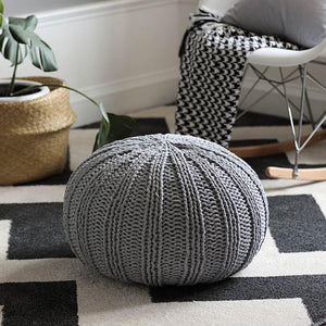 Grey Knit Pouf