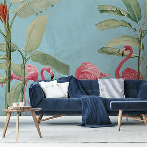 Flamingos and Palms Wall Mural