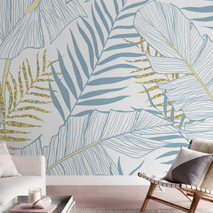 Blue and Yellow Palms Wallpaper