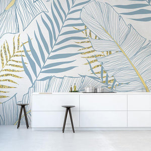 Blue and Yellow Palms Wallpaper - Staunton and Henry