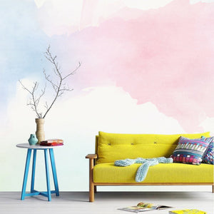 Pink and Blue Watercolors Wall Mural