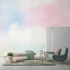 Pink and Blue Watercolors Wall Mural - Staunton and Henry