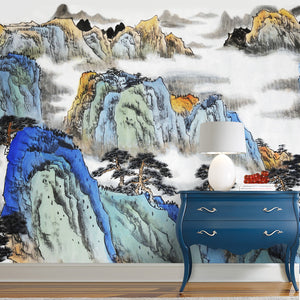 Mountain Blue Oriental Wall Mural