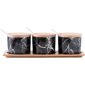 Black Marble Condiment Jars Set