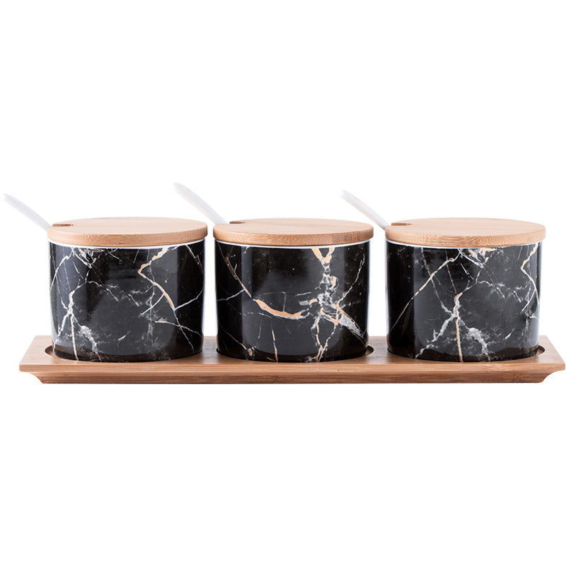 Black Marble Condiment Jars Set - Staunton and Henry
