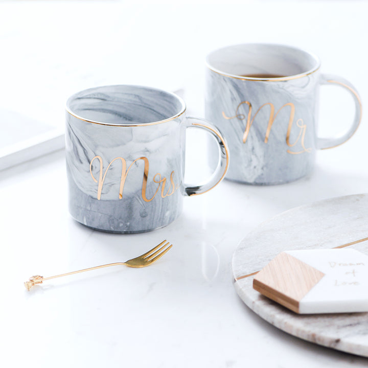 Mr and Mrs Marble and Gold Coffee Mug - Staunton and Henry