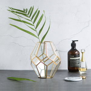 Gold and Glass Faceted Vase