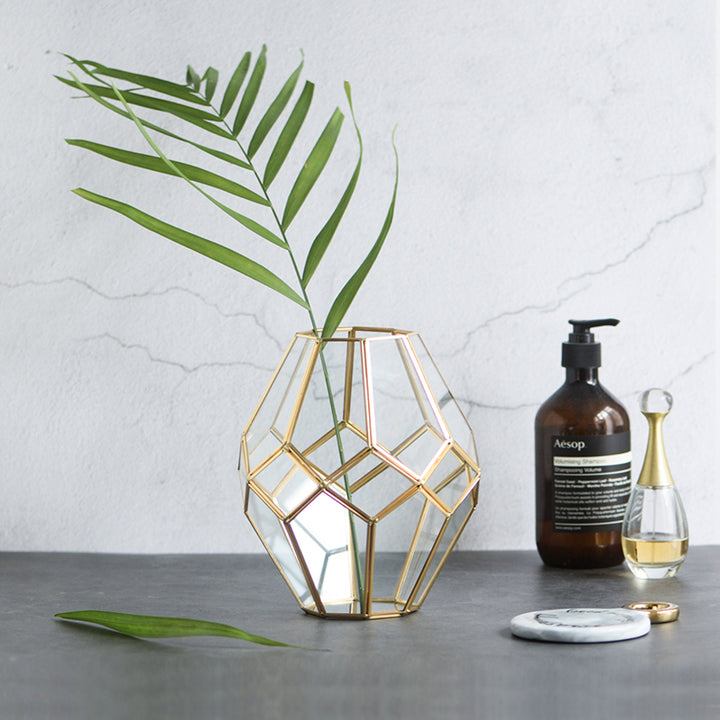 Gold and Glass Faceted Vase - Staunton and Henry