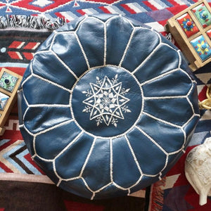 Moroccan Leather Pouf - Staunton and Henry