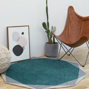 Geometric Round Teal and Grey Rug