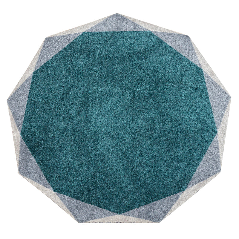 Geometric Round Teal and Grey Rug - Staunton and Henry