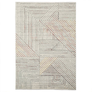 Modern White Linear Rug - Staunton and Henry