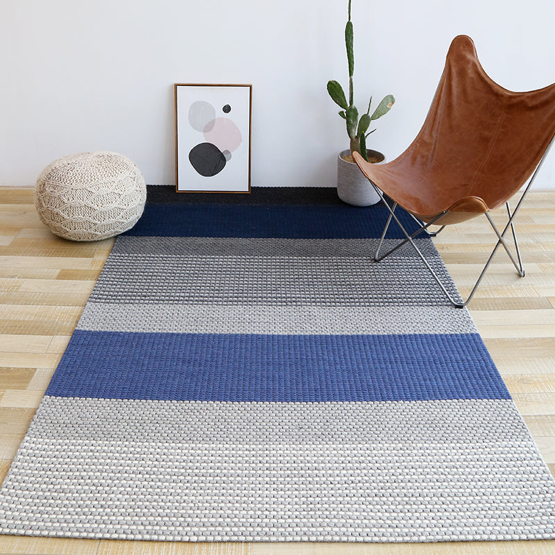Blue and Grey Chunky Weave Rug - Staunton and Henry