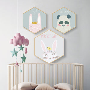 Hexagonal Framed Kids Room Prints