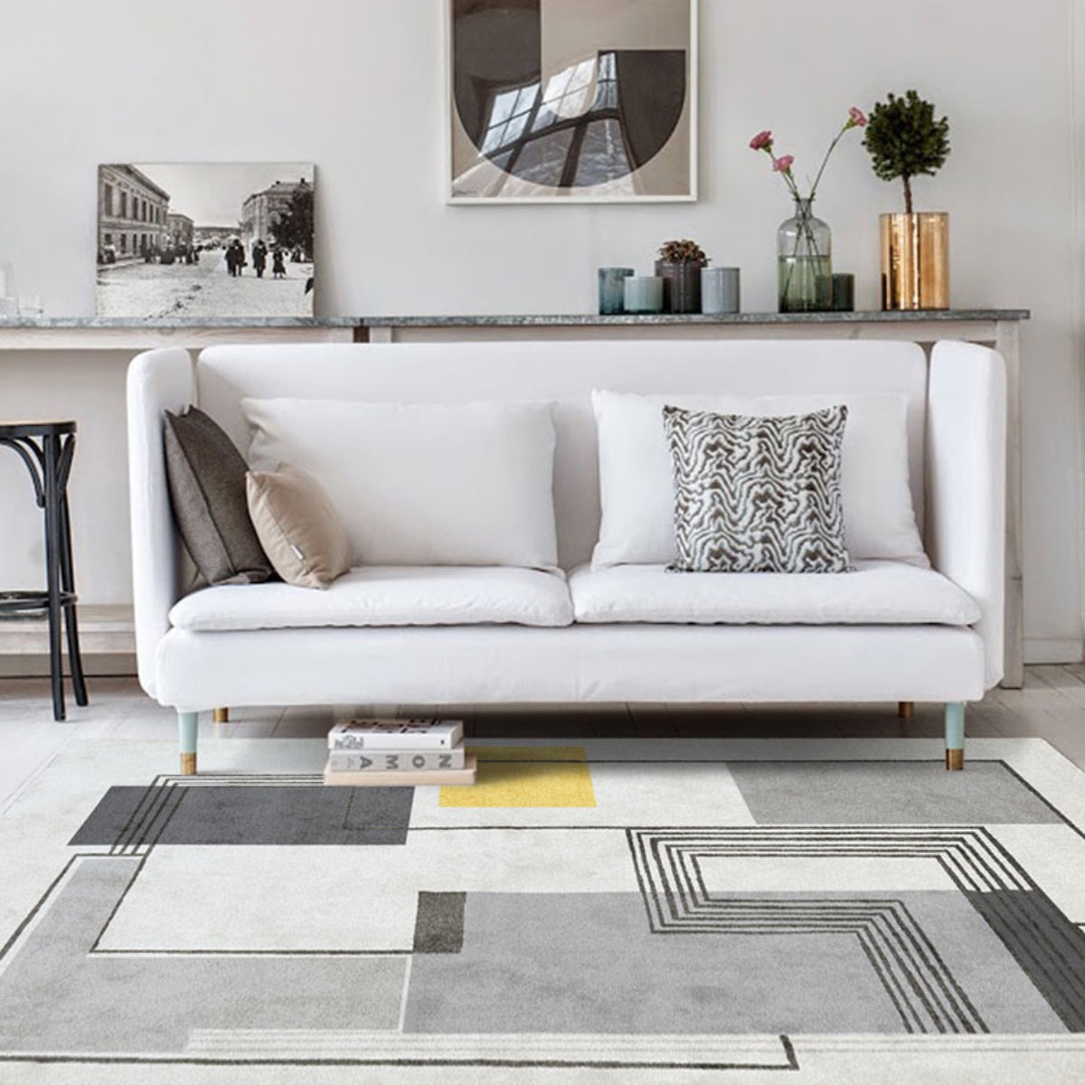 Picture of: Yalos Modern Grey And Yellow Area Rug Staunton And Henry