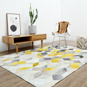 Modern Yellow and Grey Patchwork Cowhide Rug