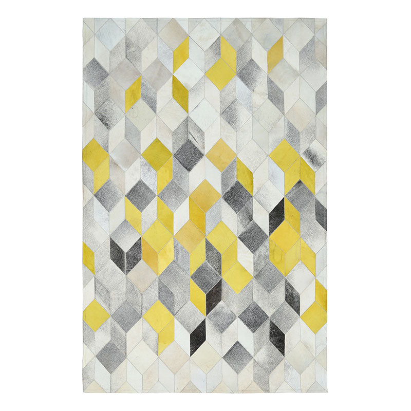Modern Yellow and Grey Patchwork Cowhide Rug - Staunton and Henry