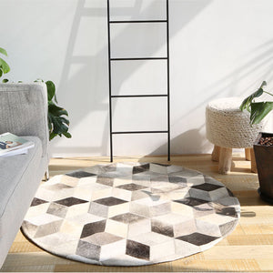 Grey and White Patchwork Round Cowhide Rug - Staunton and Henry