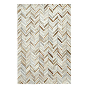 Brown and White Patchwork Cowhide Rug