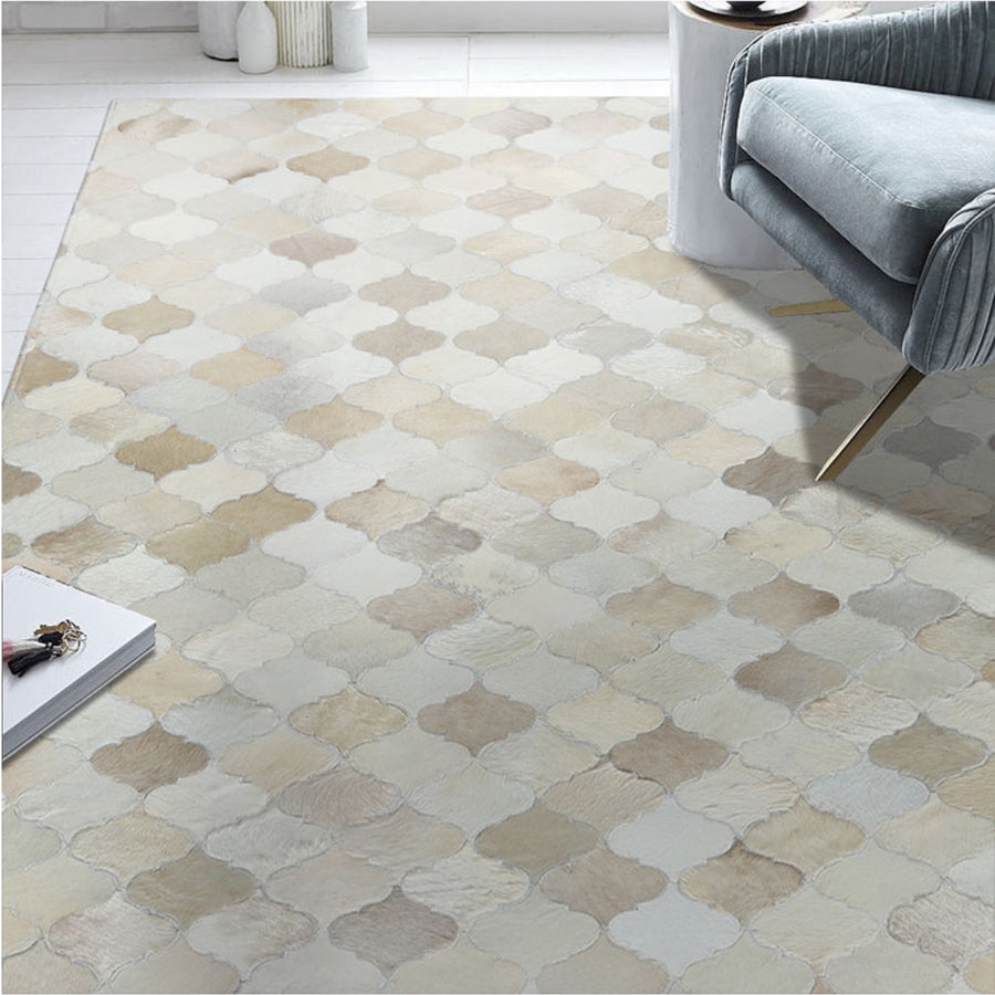Cream and Fawn Patchwork Cowhide Rug - Staunton and Henry