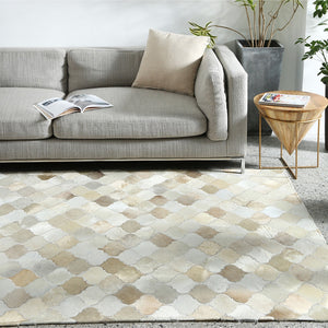 Cream and Fawn Patchwork Cowhide Rug
